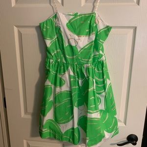 Lilly Pulitzer lime /gold strapless party dress 12